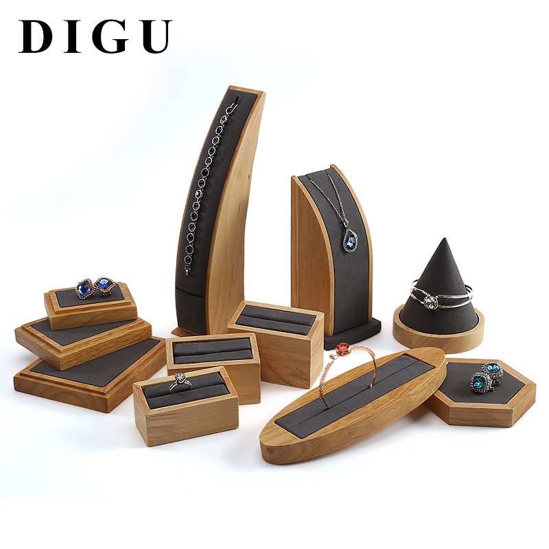 Solid Wood Earrings Shelf Display Of Props Jewelry Rings Jade Necklace Display Tray Jewelry Display Stand