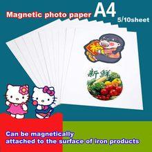 5/10 magnético brilhante inkjet impressão foto papel magnético a4 4r impressão foto adesivo de papel diy geladeira sticke