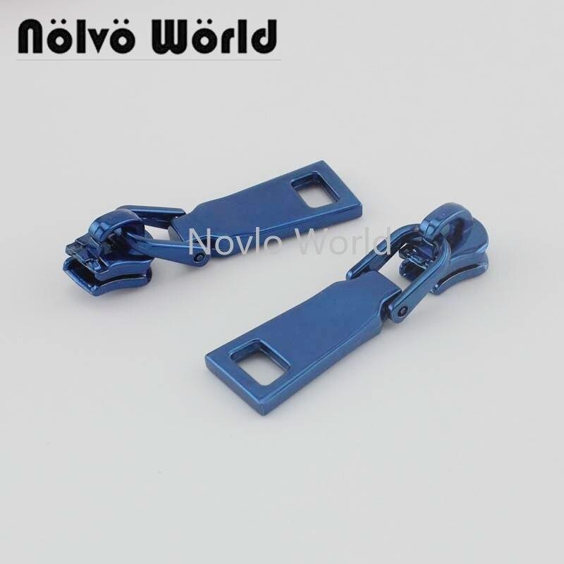 10-50pcs Personalized Blue Color 5# Metal Teeth Head Garment Zipper Puller Zip Slider Metal For Purse Bag Sewing