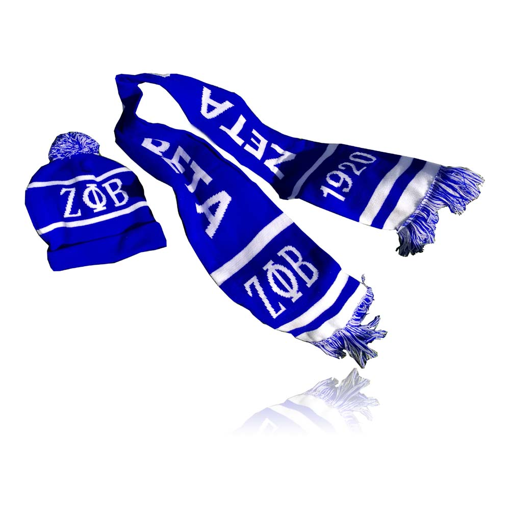 ZETA PHI BETA Sororit Hat Scarf Set Of Hat And Scarf For Women Girl Warm Beanies ZPB Hat For Girl Ring Scarf Pompoms Winter Hats