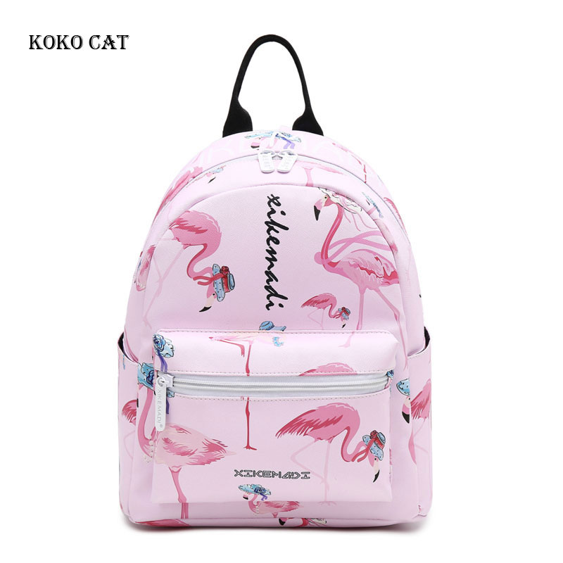 Koko Cat Fashion Teenagers Girls Backpack Flamingo Printed School Bags Female Travel Rucksack  Sac A Dos Mochila Bolsos Mujer