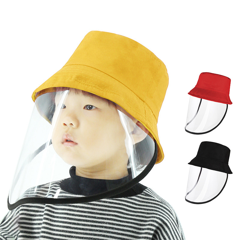 Wind Proof Isolated Droplets Protective Buscket Hat With Transparent Face Shield Mask For Babies Helmet Goggles Visors For Kids