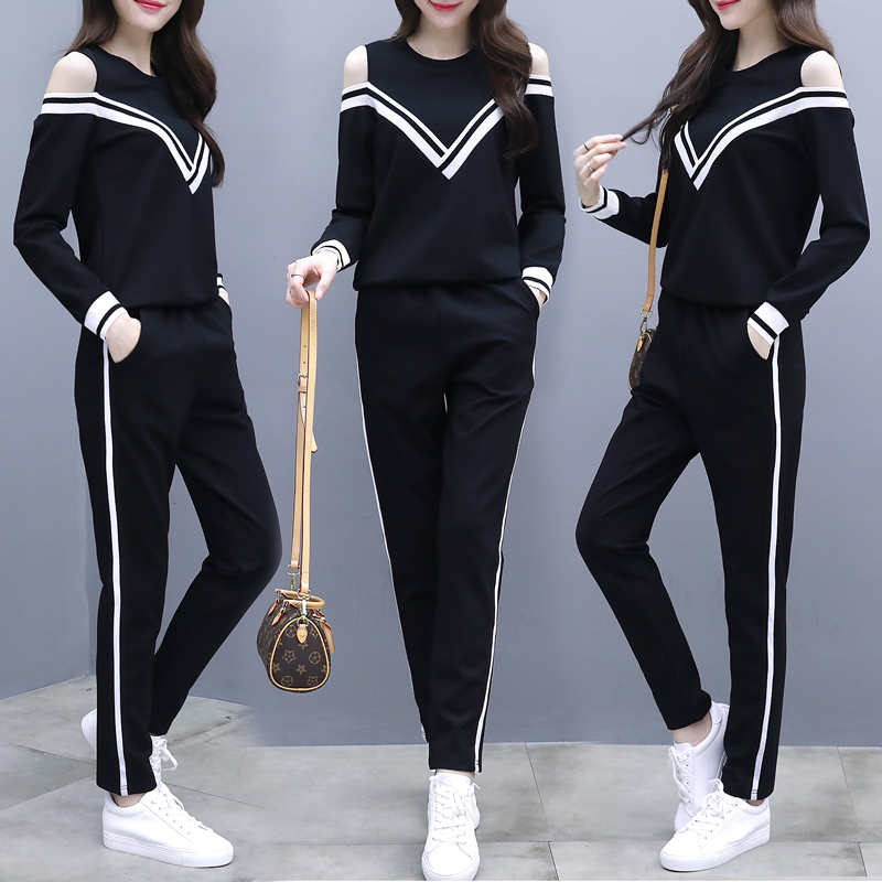Loose Fit Striped Tracksuit Two-piece Set Sexy Strapless O Neck V Shape Long Sleeve Pullover Trousers Autumn Fashion Sportswear