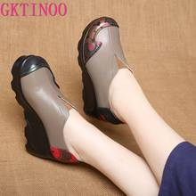 GKTINOO 2021 New Genuine Leather Shoes Ladies' Comfortable High Heels Thick Bottom Casual Shoes Wedges