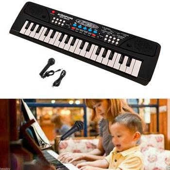 37 klawiszy klawiatura elektroniczna fortepian LED muzyka przenośna zabawka z mikrofonem edukacyjny Electone do występów kina domowego D30 tanie i dobre opinie