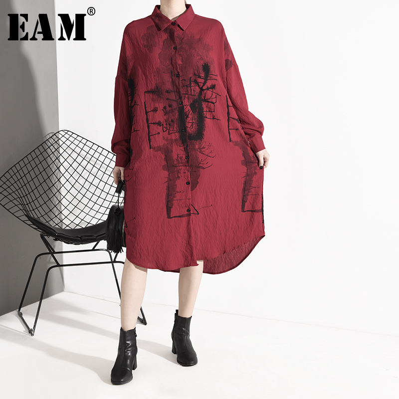 [EAM] Women Red Pattern Print Thin Long Shirt Dress New Lapel Long Sleeve Loose Fit Fashion Tide Spring Autumn 2020 1M92203
