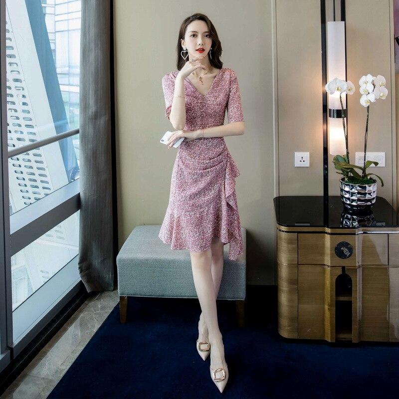 WOMEN'S Dress 2019 Summer New Products Debutante Elegant V-neck Slim Fit Slimming Flounced Floral Printed Dress Women's