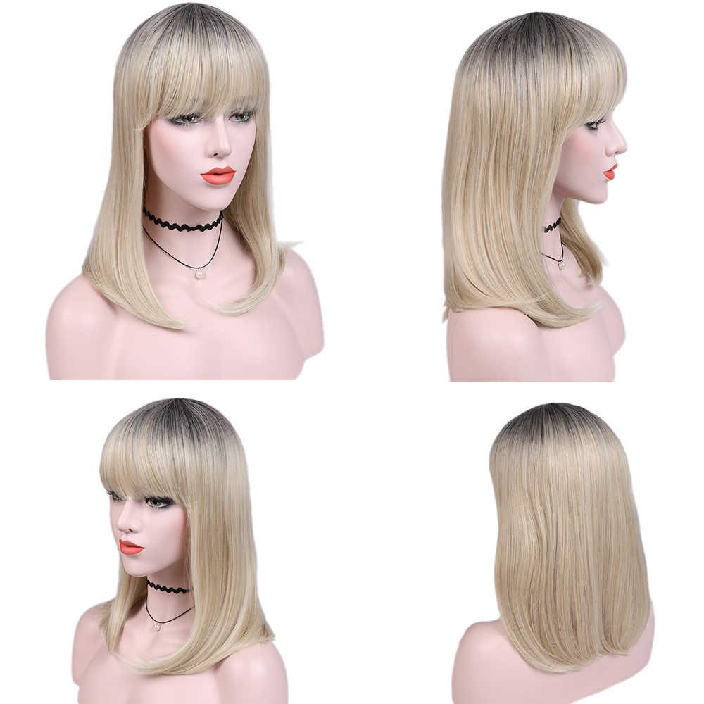 Fave krótkie proste włosy syntetyczna peruka z grzywką czarny do Sandy blond włókno termoodporne Cosplay na czarne peruki damskie