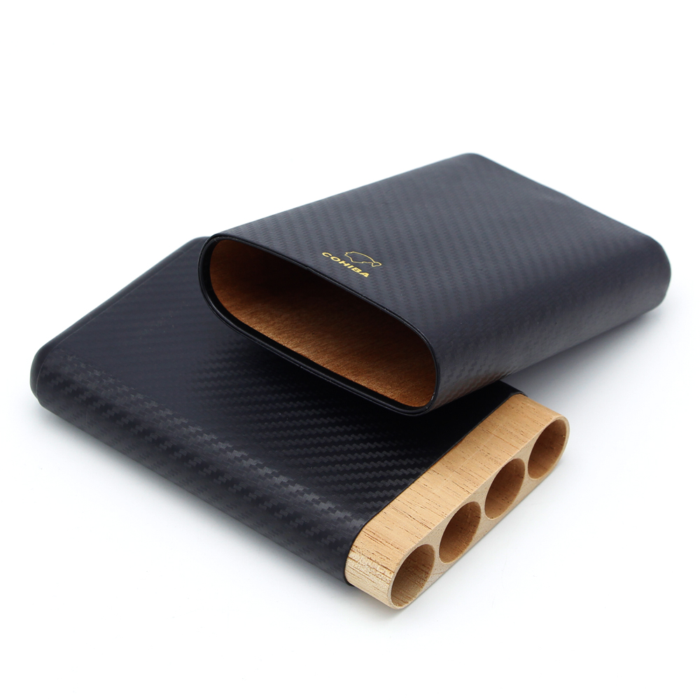 COHIBA Carbon Fiber Cigar Humidor Box 4 Tube Cigar Case Cedar Wood Lined Cigar Humidor Accessories with Gift Box in Cigar Accessories from Home Garden