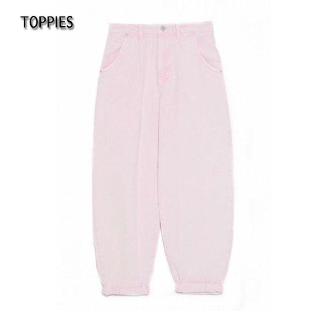 Toppies Woman Baggy Jeans Pink Harem Pants Loose Trousers 2021 Summer Women Leisure Pants Korean style Streetwear Wide Cut 6