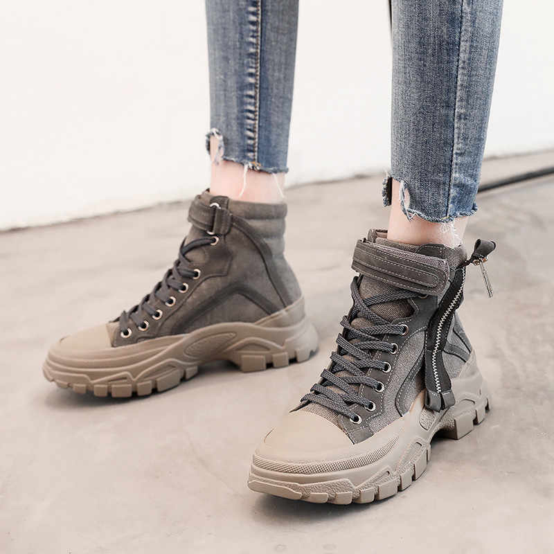 FEDONAS klasik yuvarlak ayak kadın yarım çizmeler platformlar rahat yüksek topuklu ayakkabılar kadın sıcak sonbahar kış binici çizmeleri yeni ayakkabı
