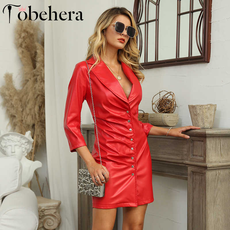 Glamaker Faux PU lederen winter jurk Vrouwen lange mouw geplooide bodycon vestidos Herfst retro vrouwelijke sexy korte partij rode jurk