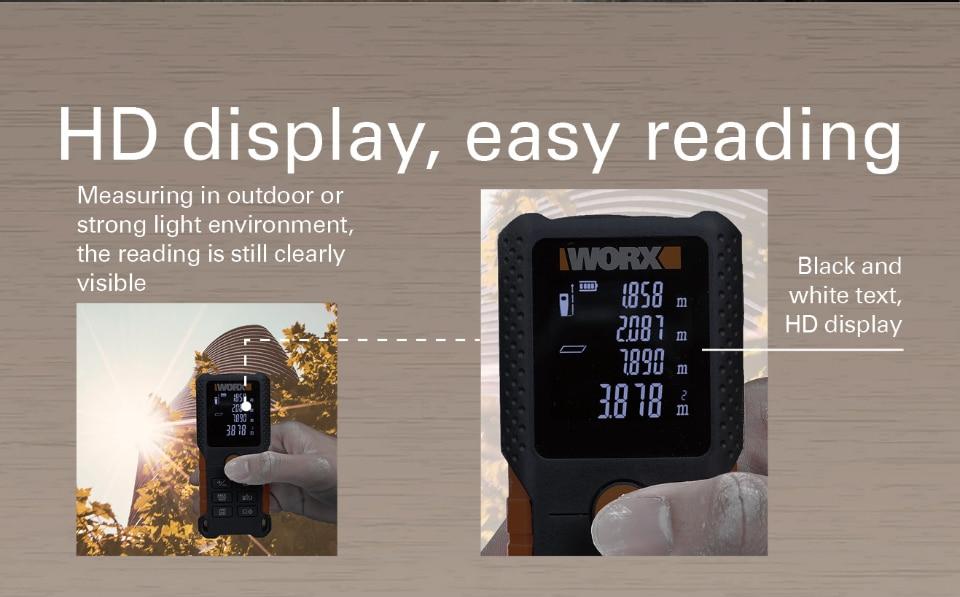 HD display of WORX Laser Rangefinder