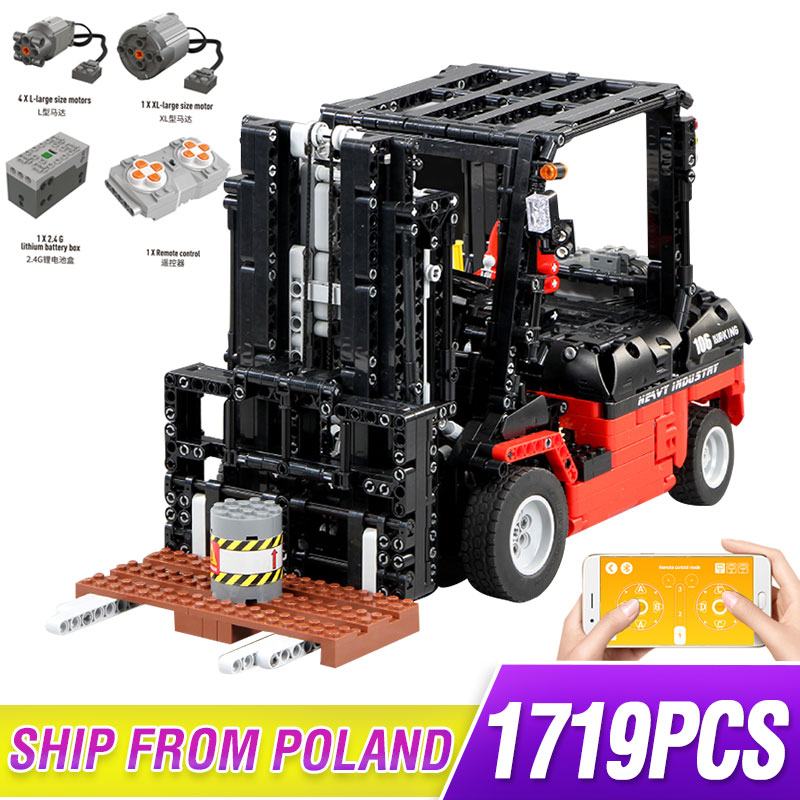 MOC Technic Series Motor Power Mobile Crane Forklift Mk II Car Model Building Kits Blocks Bricks Compatible With Lepining 3681