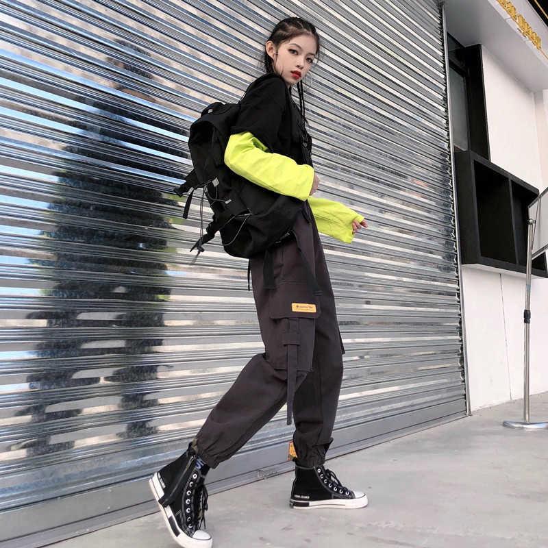 ハイウエストストリートカーゴパンツ女性ソリッドロング長さヒッピーの女性のパンツポケットプラスサイズジョギング Spodnie Damskie