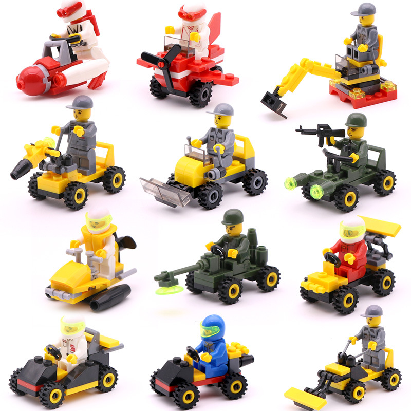12 Kinds DIY Mini Compatible Legoing Transportation Block Car Plane Building  Duplo City Soliders Police Bricks Kids Figure Toys
