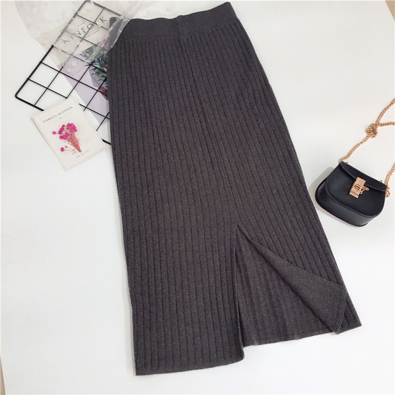 Autumn And Winter Knitted Overskirt WOMEN'S Dress Elasticity Sheath Slimming Straight-Cut Skirt High-waisted Long Slit Wool Skir