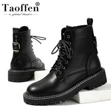 Taoffen Ankel Boots For Women Office Outdoor Women Shoes Round Toe Lace Flats Bl