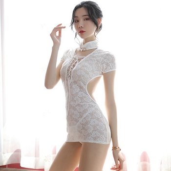 Cheongsam Night Dress Chinese Style Sexy Lingerie Dress Lace Women Sleepwear Backless Classical See Though Nightgown Porno