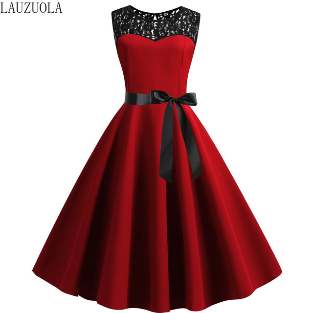 Blak Lace Summer Dress Women 2020 Pinup Elegant Vintage Party Dresses Casual Vestidos Office Tank Sleevelss A Line Plus size 3XL 56