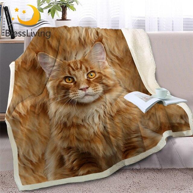 BlessLiving 3D Cat Throw Blanket on Bed Sofa Animal Siamese Sherpa Blanket Pet Brown Bedspread Fur Plush Thin Quilt 150cmx200cm
