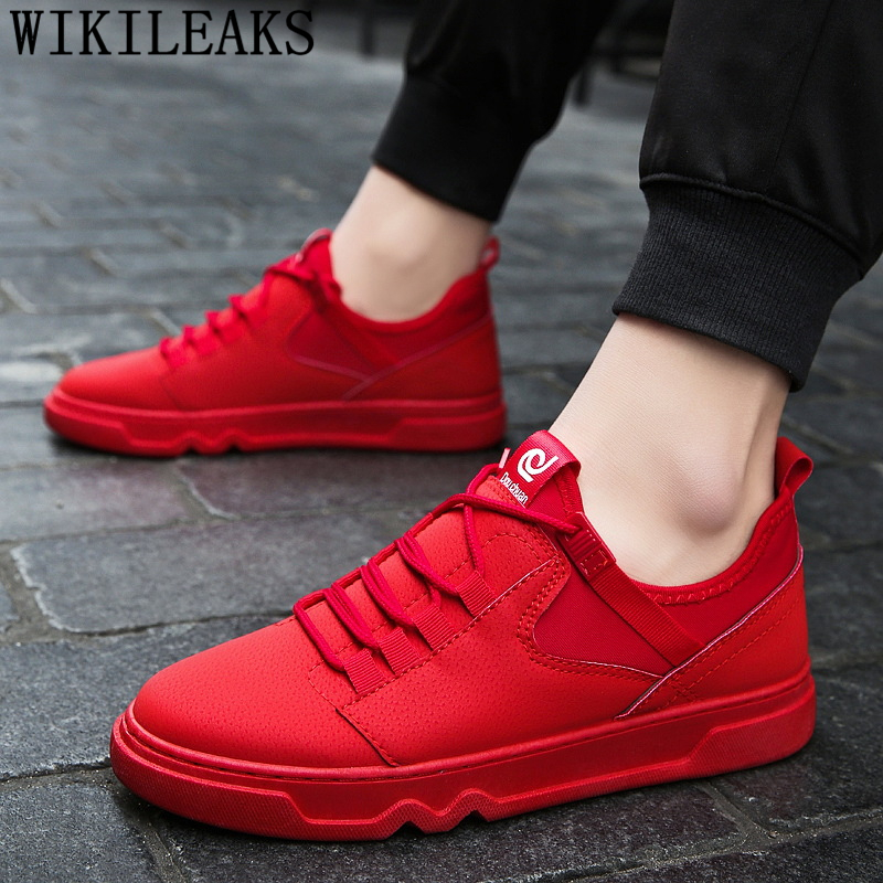 Red Shoes Leather Shoes Men Designer Sneakers For Men Fashion Hip Hop Shoes Men Sneakers Tenis Masculino Кроссовки Обувь Мужская
