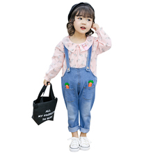 HAutumn Baby Girl Clothes Carrot Print Long Sleeve Blouse Tops Denim Strap Pants Suit Girls Clothing Set Children Casual Outfits girls floral blouse kid s clothes long sleeve off shoulder tops children clothing summer girl s outfits