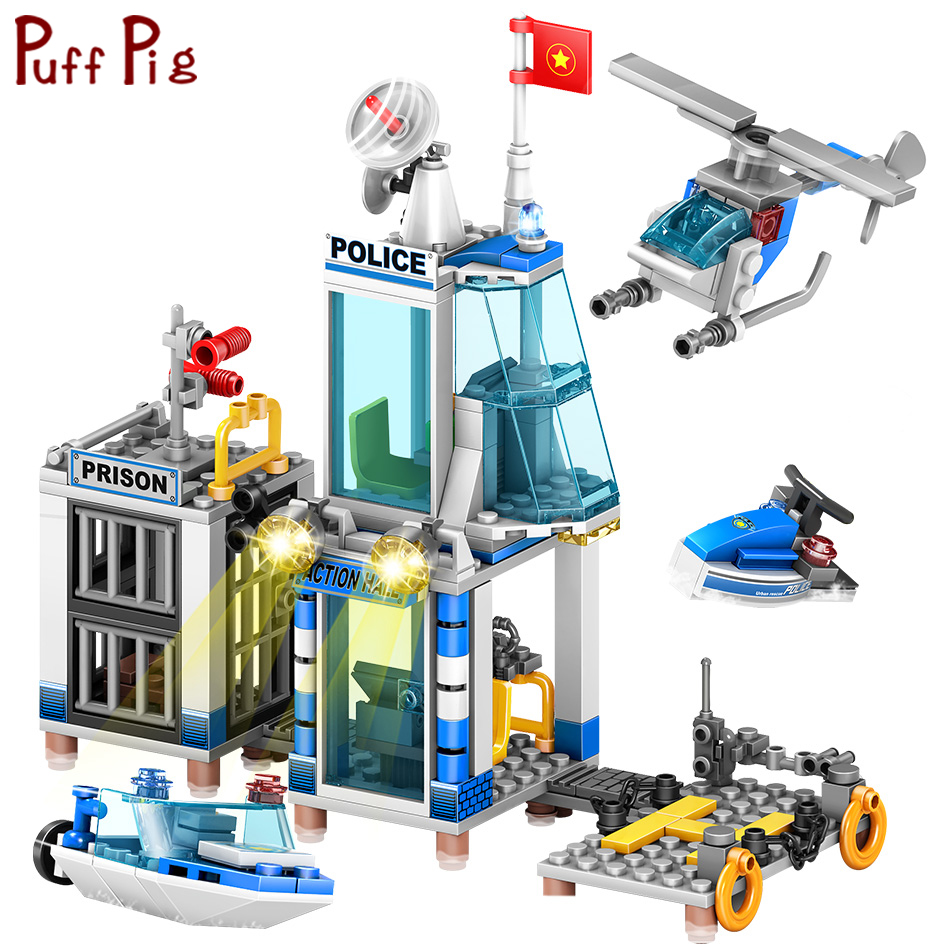 4 IN 1 Police Station Helicopter Boat Building Blocks Set Legoingly Figures City DIY Construction Bricks Toys Kids