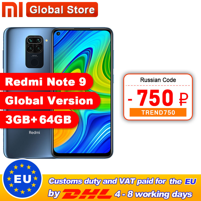 "Global Version Xiaomi Redmi Note 9 3GB 64GB/4GB 128GB Smartphone MTK Helio G85 Octa Core 48MP Quad Rear Camera 6.53"" 5020mAh(China)"