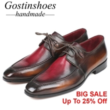 GOSTINSHOES HANDMADE Goodyear Welted Men' s Formal Oxfords Brown Bordeaux Dual Color Leather Derby Hand-Painted Lace-up SCZ019 цена в Москве и Питере