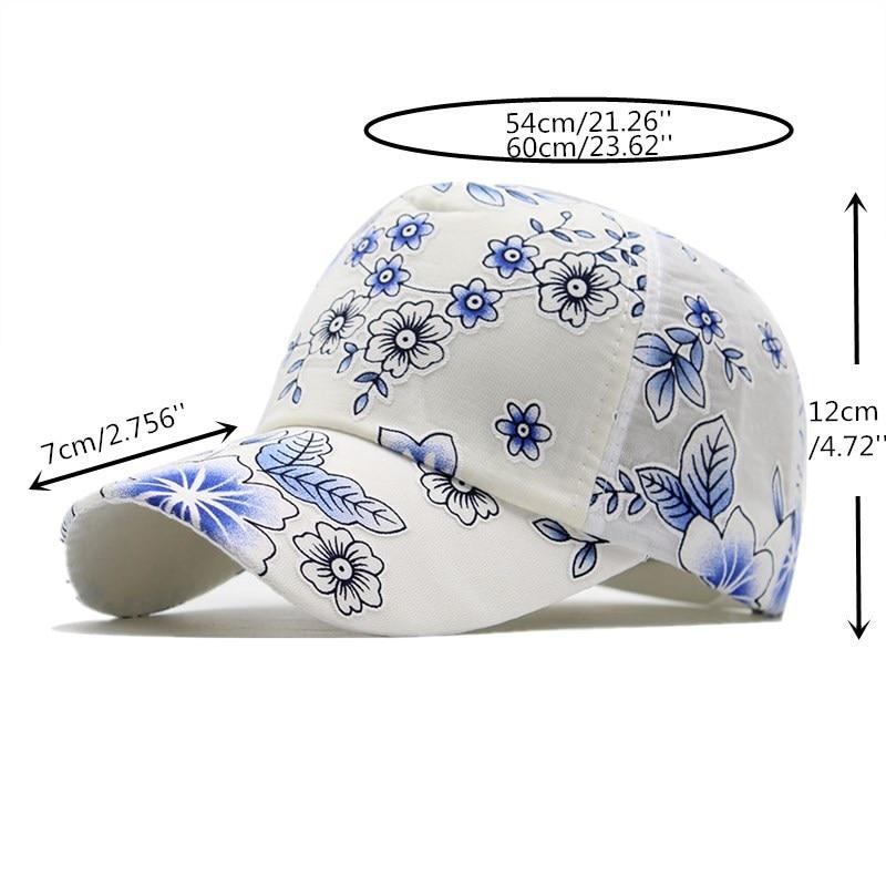2020 Flower print Women's Baseball Cap Embroidery Flower Girls Snapback Hats Woman Female Cap Mesh Summer Sun Hat 2