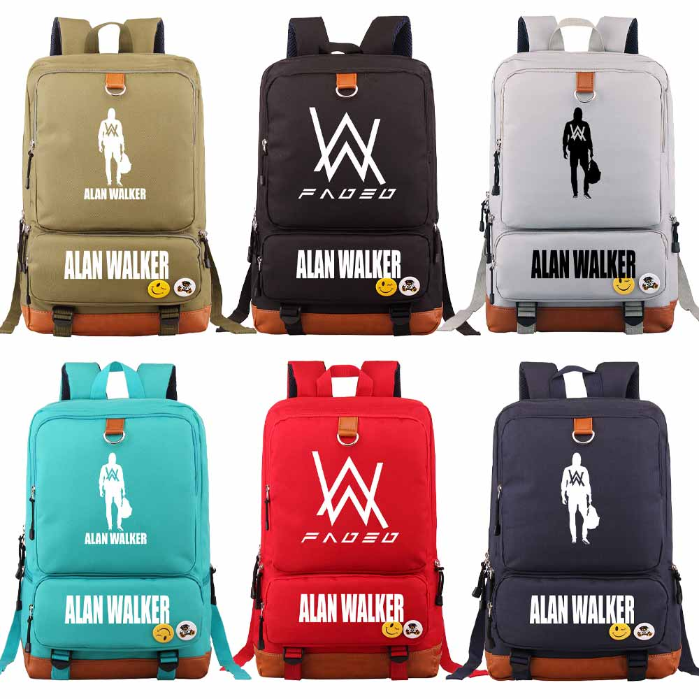 Music DJ Fade Alan Walker Letter  Boy Girl Book School Bag Women Bagpack Teenagers Schoolbags Men Student Patchwork Backpack