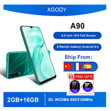 XGODY Original Smartphone Android 9,0 de 6,5 pulgadas 19:9 Pantalla Completa MTK6580 Quad Core 2GB 16GB teléfono celular 3G 2700mAh teléfonos móviles