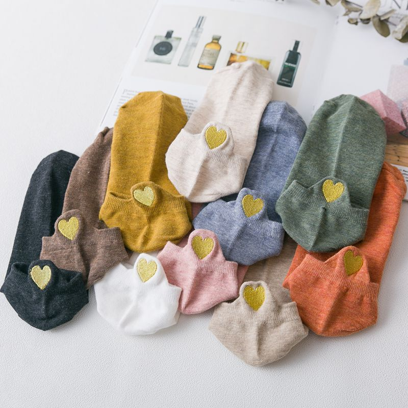 New Heart Socks Women Cotton Socks Japanese  Ankle Short Socks Embroidery Gold Heart 10 Pairs Lot