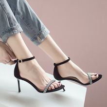 Classic Comfortable Suede Shoes Sequined Peep Toe Buckle Sandals Elegant Women Dress Shoes Party Shoes Sexy Fine with 8cm Summer hot selling american and european sexy black leather sandals peep toe chain fringe amazing party dress shoes
