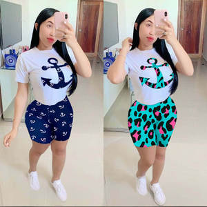 T-Shirt Shorts Two-Piece-Set's-Suits Casual Summer Women Ladies New Round-Neck Printing