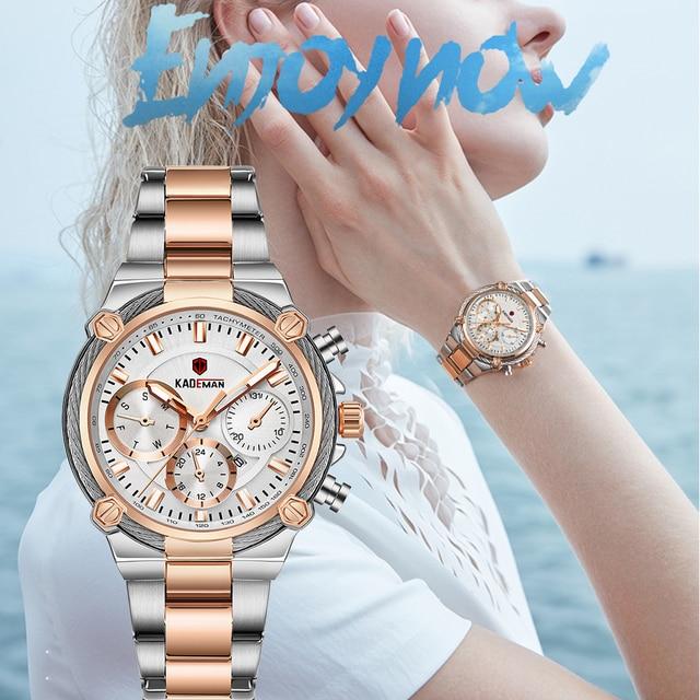 KADEMAN lüks kadın saatler klasik tasarım çelik kayış tarih kuvars bayanlar izle kadın kol saati kız saat Relogio Feminino