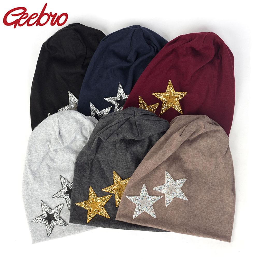 Geebro 2019 New Women Rhinestones Star Casual Beanies Hats Soft Thin Cotton Baggy Skullies Hats Cap For Ladies Girls