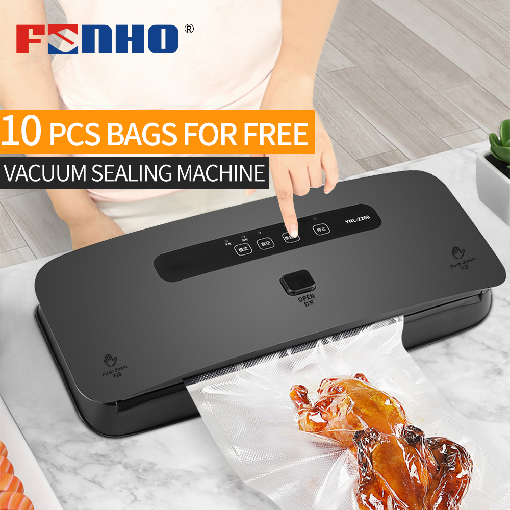 FUNHO Vacuum Sealing Machine Automatic Vacuum Sealer Fresh Packaging Machine Food Saver Vacuum Packer Include 10Pcs Bags