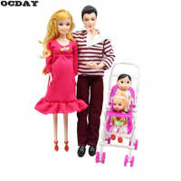 OCDAY 5 People Dolls Suit Doll Family Members Pregnant Mom Dad Baby and 2 Kids Carriage Christmas Gift Doll Toys for Children