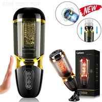 Masturbador de taza eléctrica telescópico automático para hombres, juguetes que contienen Vagina Oral, juguete sexual masculino