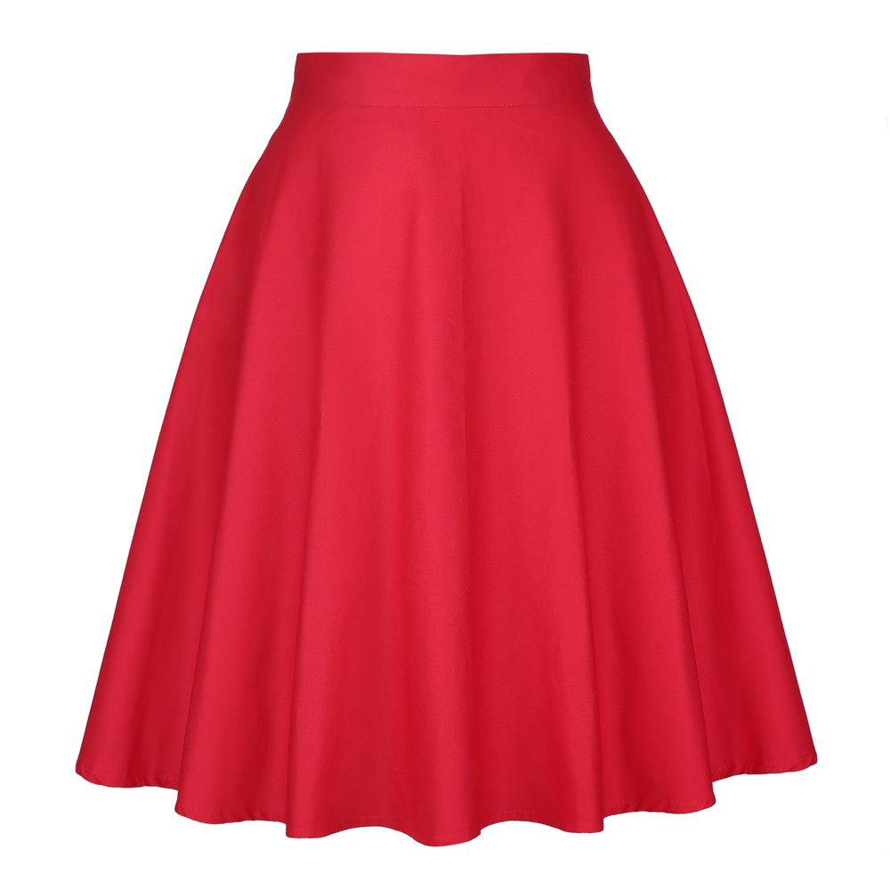 2020 Women's Casual Medium Knee-length Skirts Retro Cotton Vintage Flare Female High Waist Skirts Femininas Women Red Skirt