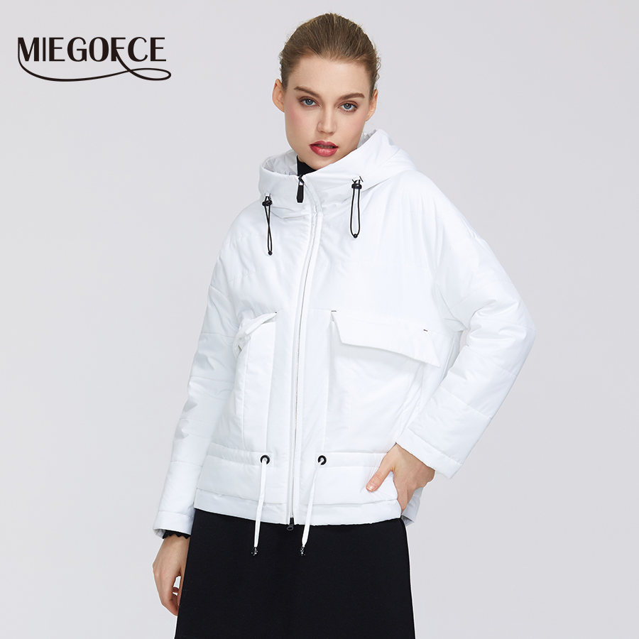MIEGOFCE 2020 Spring-Autumn Collection Women Cotton Jacket Short Length Resistant Collar Hood Zipper Jacket Pockets Windbreaker
