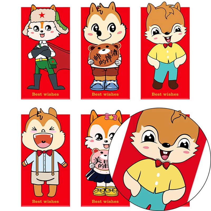 6pcs 2020 Chinese Lucky Money Bag Red Pocket Envelope For Rat Year Wedding Christmas Cute Squirrel Mouse Design Good Fortune