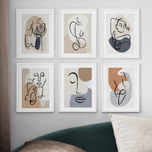 Abstract Line Color Block Woman Body Art Nordic Posters And Prints Wall Canvas Painting Pictures For Living Room Decor