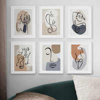 Abstract Line Color Block nude Body Art Nordic Posters And Prints Wall Art Canvas Painting Wall Pictures For Living Room Decor