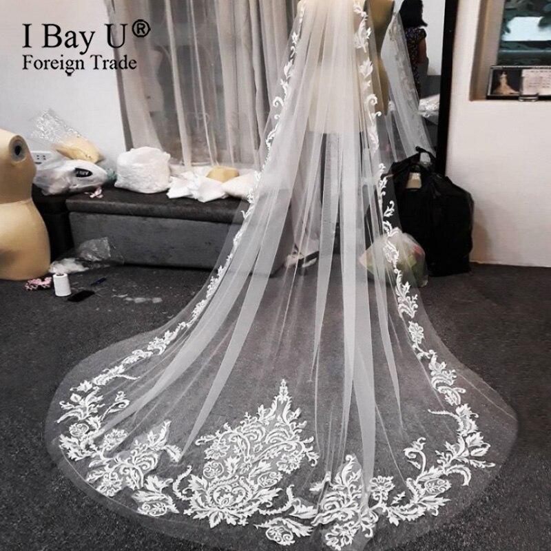 Оригинальная фотография, кружевная Длинная фата для невесты, белая свадебная вуаль на заказ, 300 см, светлый цвет слоновой кости, Цветочная Фа