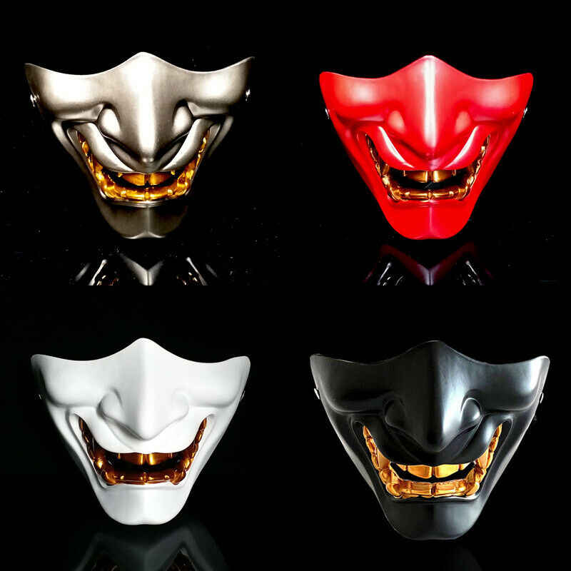 Baru Setengah Wajah Airsoft Masker Halloween Kostum Setan Jahat Rakasa Kabuki Samurai Hannya Oni Setengah Menutupi Prajna Masker