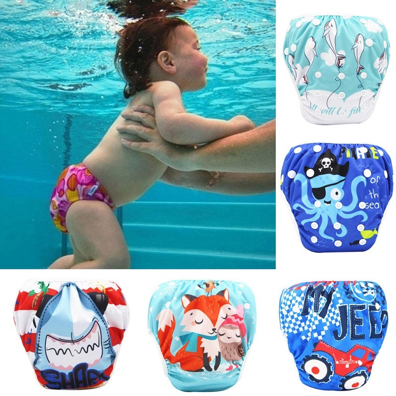 2020 New Baby Swim Diapers Waterproof Adjustable Cloth Diapers Pool Pant Swimming Diaper Cover Reusable Washable Baby Nappies