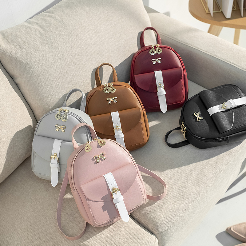LISM 2019 Women's Mini Backpack Luxury PU Leather Kawaii Backpack Cute Graceful Bagpack Small School Bags For Girls Bow-knot #4